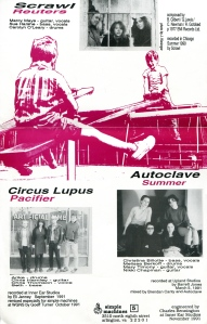 "Circus Lupus, Autoclave, and Severin on ""Lever"" compilation 7″ single 45, inside cover,  Simple Machines No. 5, 1991"