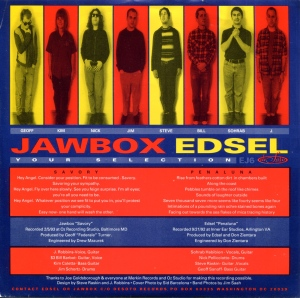 "Jawbox (with Kim Coletta)  / Edsel ""Your Selection"" split 7″ single 45, backside, Desoto Records 6"