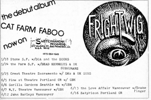 Frightwig tour calendar advert, from Touch and Go advert, Maximum RocknRoll, No. 25, May-June 1985