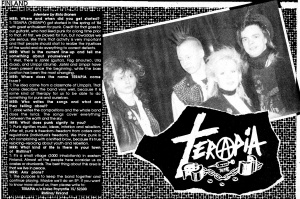 Terapia (from Finland, with Ulla) interview, in Maximum Rock'n'Roll, Oct. 1986