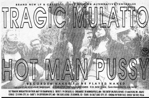 "Tragic Mulatto ""Hot Man Pussy"" advert from Maximum Rock'n'Roll No. 73, June 1989"