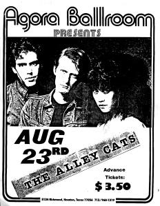 Akey Cats at the Agotra Ballroom in Houston, TX, likely 1981, provided by Doug. D
