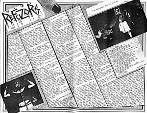 Refuzors, interview in Subcharge fanzine No. 2, March 1985