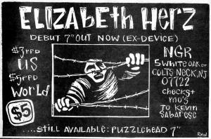 "Advert for Elizabeth Herz debut 7"", Maximum RocknRoll No. 101, Oct. 1991"
