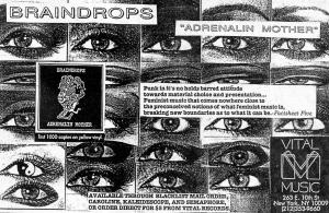 "Braindrops ""Adrenalin Mother"" 12"" EP, Vital Music, from Maximum RocknRoll No. 79, Nov. 1989"