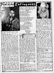 """""""Feminine Influences"""" article with Karen (Conflict) and Kim (We Got Power zine), Flipside"""
