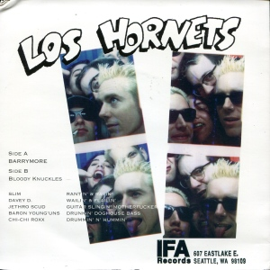 "Los Hornets ""Barrymore"" 7"" single 45, with Chi-Chi Roxx, back cover, IFA Records"