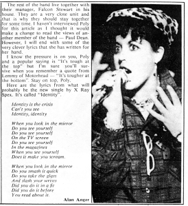 Section of a X Ray Spex interview, Zigzag / Ripped and Clipped No. 6