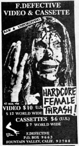 Advert for F. Detective video and cassette, from Maximum RocknRoll Jan. 1993, No. 116