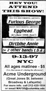 Dirtbike Annie (with Jeannie Lee)  at Acme Underground, NYC, 1997, from Maximum RocknRoll No. 172, 1997