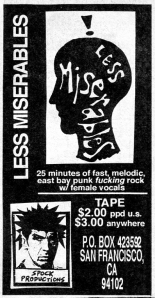 Les Miserables advert, from Maximum RocknRoll Jan. 1993, No. 116