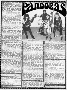 Pandoras interview, from Maximum RocknRoll, Jan. 1985 No. 21