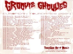 Groovie Ghoulies 2004 European Tour Calendar Postcard
