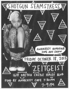Osa Atoe of Shotgun Seamstress zine at Zeitgeist in New Orleans, LA, 18 Nov. 2012