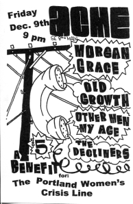 Benefit for the Portland Women's Crisis Line with Morgan Grace, Old Growth, Other Men My Age, and The Decliners at Acme in Portland