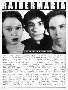 Rainer Maria in Held Like Sound fanzine, 1999