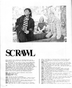 Scrawl interview from Too Fun Too Huge #2, Spring 1988