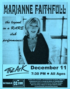 Marianne Faithful at The Ark near Detroit, MI
