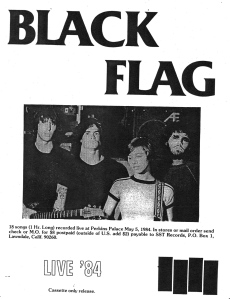 "Black Flag (with Kira Roessler)  ""Live '84"" advert flyer"
