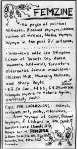 Advert for Femzine, Maximum RocknRoll, July 1991, No. 98