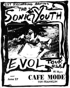 Sonic Youth (with Kim Gordon) at Cafe Mode in Houston, circa 1986