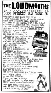 Loudmouths 1997 Tour calendar, Maximum RocknRoll, Oct. 1997, No. 173
