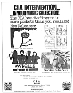 "CIA advert with Mydolls ""Imposter/Exorcism"" 7"", Hymnal No. 3, 1982"