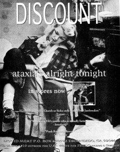 Advert for Discount (with Alison Mosshart) Ataxia's Alright Tonight album, Punk Planet No. 15, Oct/Nov 1996