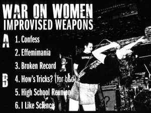 War on Women (with Shawna Potter), Improvised Weapons, back cover detail, Exotic Fever records, 2011