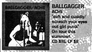 "Advert for Ballgagger ""Ache"" CD/LP, Theologian records, maximum RocknRoll, Aug. 1997, No. 171"