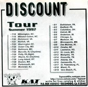 """Discount (with Alison Mosshart) """"Half Fiction"""" album, Kat Records, Maximum RocknRoll, No. 174, Nov 1997"""