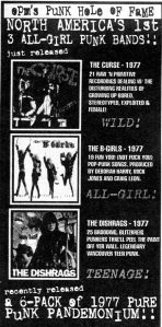 Advert for re-issues of The Curse, B-Girls, and The Dishrags, Other People's Music, Maximium Rock'n'Roll, Aug. 1997, No. 171