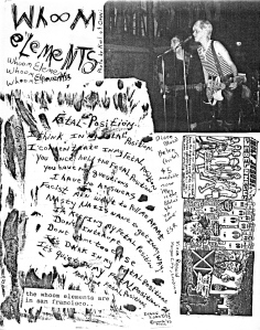 Whoom Elements in Hymnal zine No. 3, 1983, from Texas