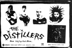 Advert for Distillers self-titled album, Hellcat records, Hit List, 2.2, June/July 2000