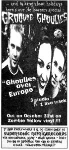 """Advert for Groovie Ghoulies """"Ghoulies Over Europe"""" EP, Maximum RocknRoll, No. 175, Dec. 1997"""