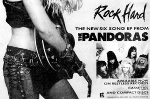 "Advert for Pandoras ""Rock Hard"" EP, Restless Records, Contrast, Issue 6, Fall 1989"