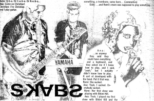 The Skabs (with Helen Ghastly and Ana Mischief) interview graphic, Maximum RocknRoll, Dec. 1998, No. 187