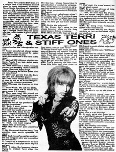Texas Terri and the Stiff Ones, interview by Johnny Witmner, photo by James Bunoan, Maximum RocknRoll No. 182, July 1998