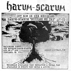 """Advert for Harum-Scarum """"Suppose We try"""" 12"""", Heart Attack No. 32, Sept. 2001"""