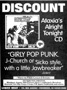 "Discount ""Ataxia's Alright Tonight"" advert, Liquid Meat, Flipside No. 104, 1996"