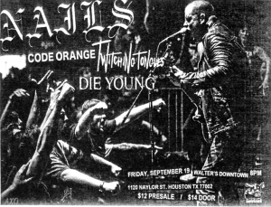 Nails, Code Orange, Die Young, and Twitching Tongues at Walters 19 Sept. 2014