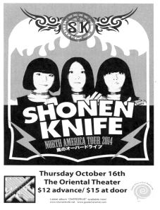Shonen Knife at the Oriental Theater in Denver, CO, 16 Oct. 2014