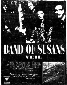 """Advert for band of Susans (with Anne Husick and Susan Stenger) """"Veil"""" album, Restless Records, Flipside, 1993"""