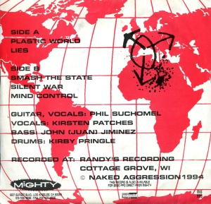"Naked Aggression (with Kirsten Patches) ""Plastic World"" 7"" single 45, back cover, Mighty Records, 1994"