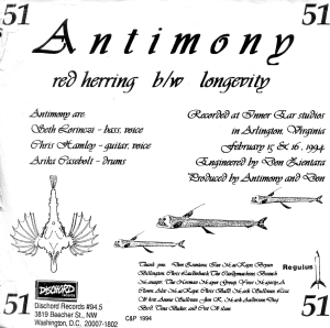 "Antimony (with Arika Casebolt), ""Red Herring"" 7"" single 45, Dischord No. 51, 1994"