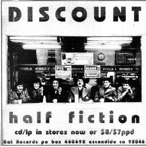 "Discount ""Half Fiction"" advert, Kat Records, Nothing Left, Issue No. 7, 1998"