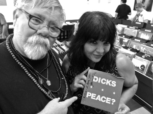 Trish Herrera of Mydolls with Gary Floyd of the Dicks, Sister Double Happiness, and more, Cactus Records, Houston, summer 2014, by David Ensminger