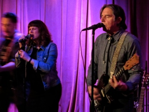 Cindy Wasserman with John Doe at Mucky Duck, Houston, TX, 22 Jan. 2015, by David Ensminger