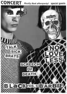 Talk Sick Brats, No Love Less, and Screech of Death at Black Barbie, Houston TX, by David Ensminger