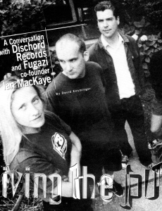 """Ian MacKaye on Living the Punk Ethic,"" interview with site editor David Ensminger, Amy Pickering of Dischord on left, photo by David Holloway, Thirsty Ear, Dec 2000/Jan. 2001"